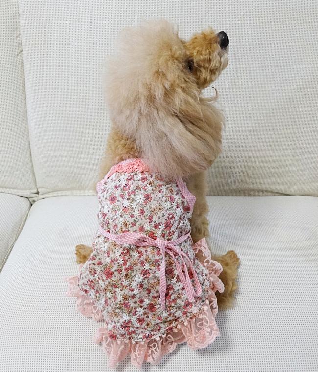 ピンクの花柄キャミソール(犬服)