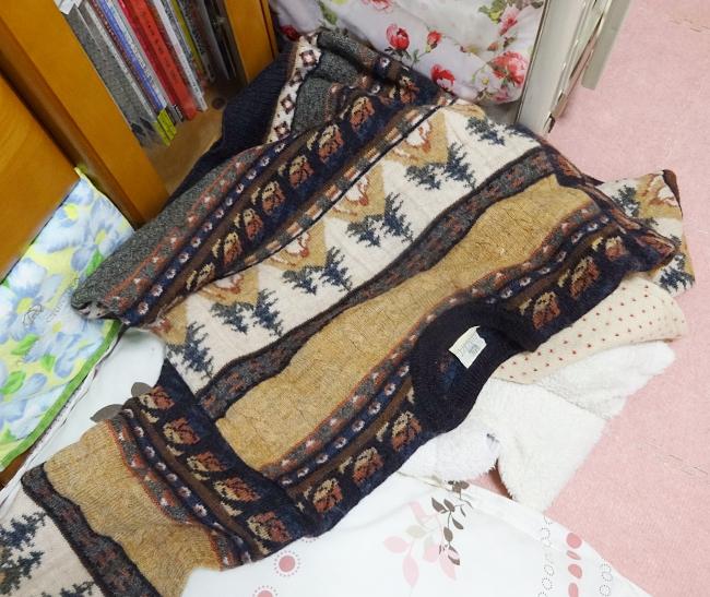 スコットランドのアイリッシュセーターで寝る杏ちゃん