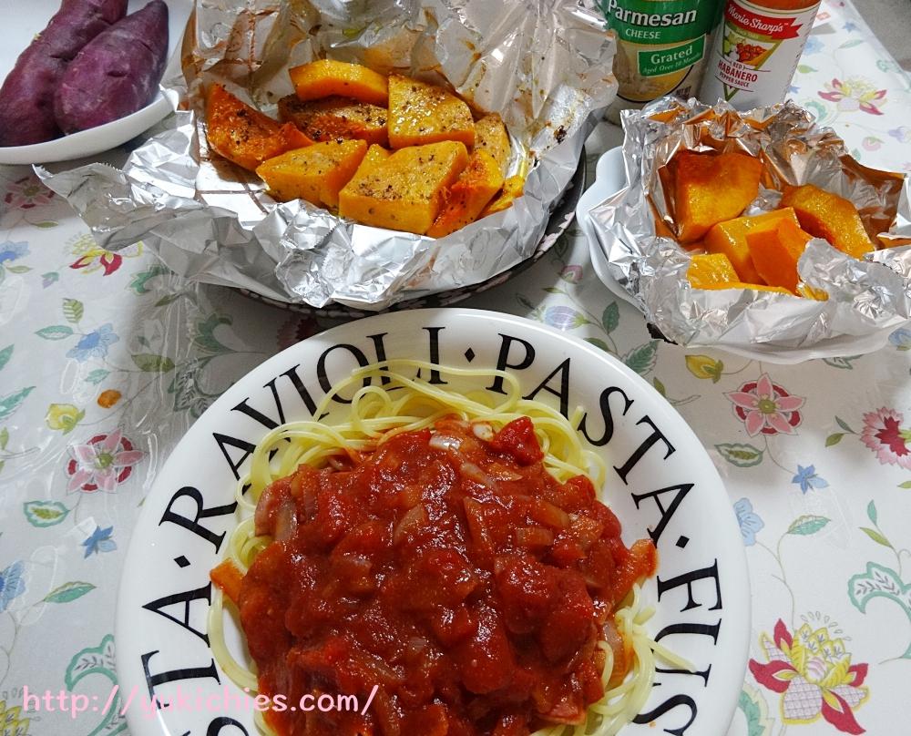 バターナッツかぼちゃ(Butternut squash)無農薬・無化学肥料 トマトソースパスタと有機さつまいも