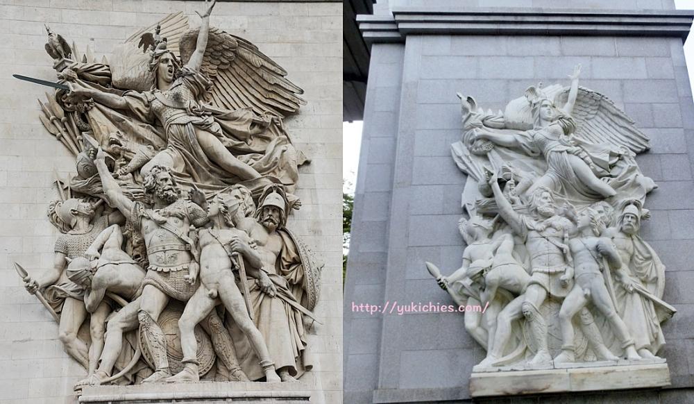 石のエリアの凱旋門の彫刻とパリの凱旋門の彫刻比較