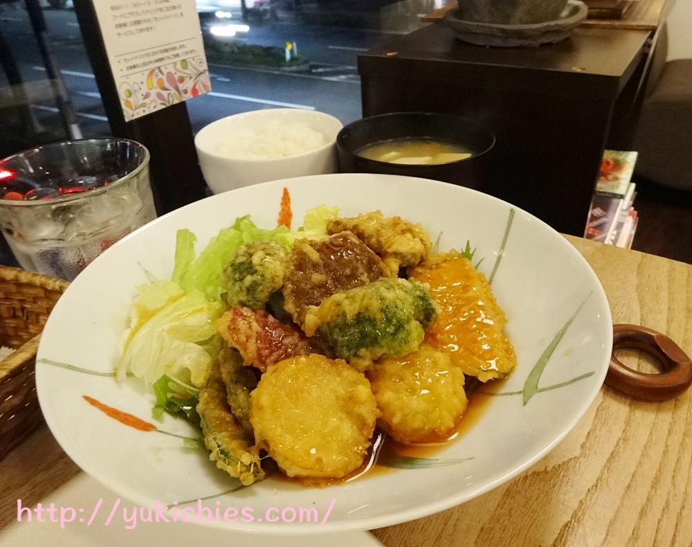 京都cafe sora 思風都 野菜の甘酢あんかけセット