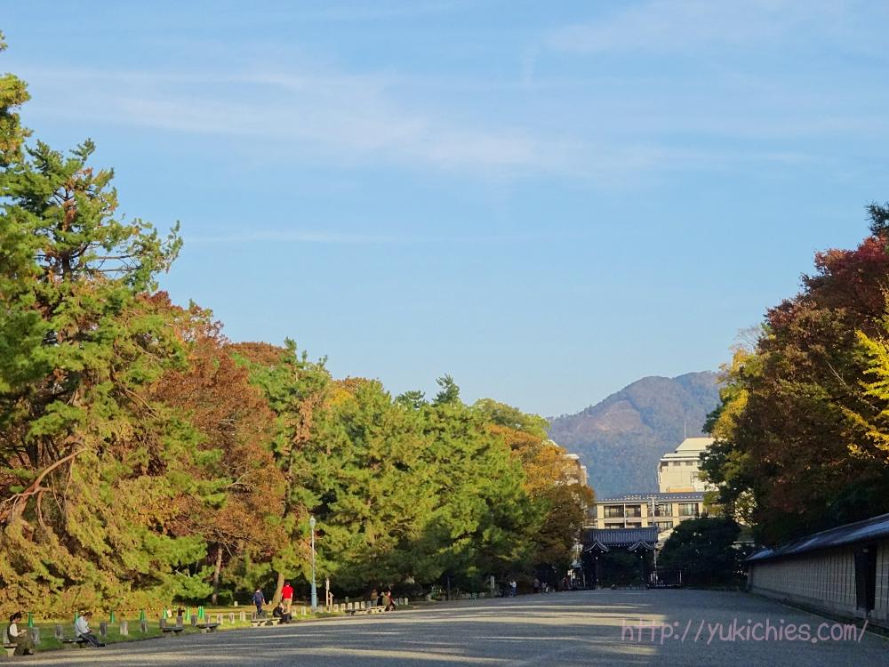 京都御所から見た大文字山 東山