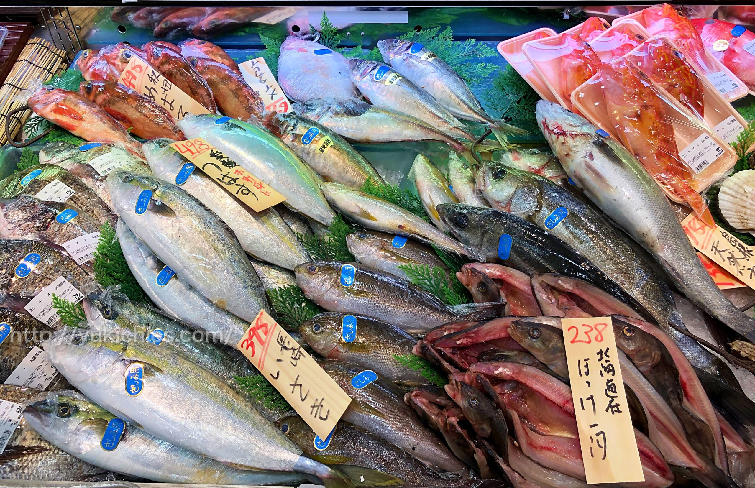 スーパの新鮮食品 魚屋さん つばす・メバル・チヌ・ほっけ・鯛