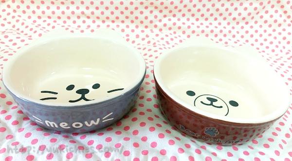 ダイソーで買ったクマと犬のお茶碗2
