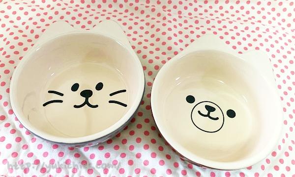 ダイソーで買ったクマと犬のお茶碗