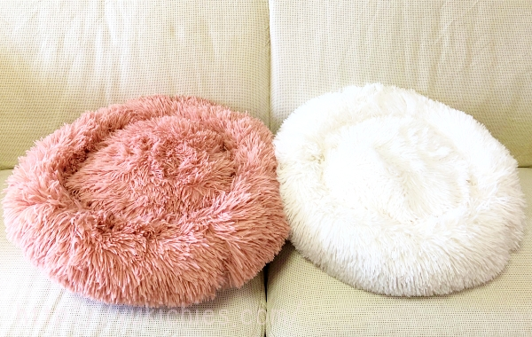 ふわふわもこもこ犬ベッドの白とピンク