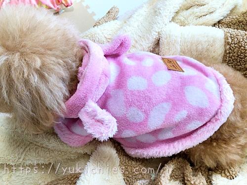 ダイソーDOGWARE ペット服(耳付き、ゆるアニマル、Lサイズ)を着た杏ちゃん
